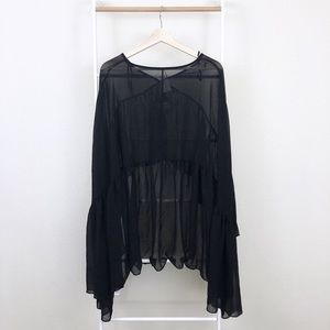 Nasty Gal Tops - NWT Nasty Gal Witchy Sheer Chiffon Bell Sleeve Top